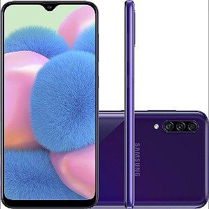 "Smartphone Samsung Galaxy A30s 64GB Dual Chip Android 9.0 Tela 6.4"" Octa-Core 4G Câmera Tripla Violeta"