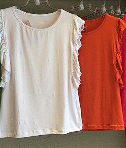 T-shirt Basc malha  sem mangas babados lateral Basic