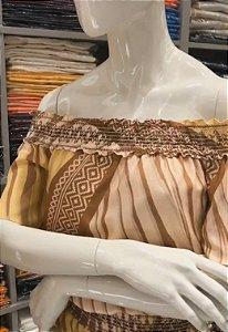 Blusa Betelgeuse linho manga curta  - ombro a ombro com elastico