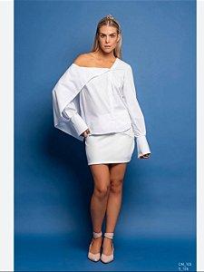 Camisa Camilla Costa assimetrica manga longa branca