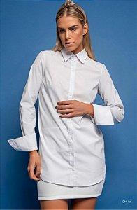 Camisa Camilla Costa manga longa punho largo branca