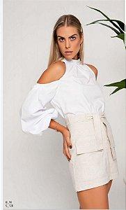 Blusa Camilla Costa ombro vazado tricoline manga longa branca