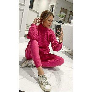 Conjunto Inffinity trico calça e blusa gola alta manga longa pink