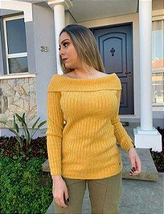 Blusa Biamar tricô ombro a ombro acompanha cinto mesmo tecido cor mostarda