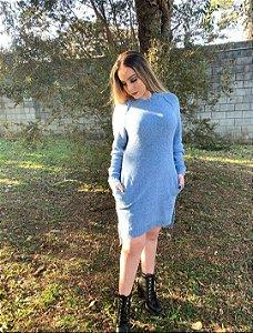 Vestido Biamar tricô com bolso lateral decote redondo cor azul claro