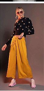 Blusa Biamar tricô  manga longa gola redonda cor azul marinho com poá rosa