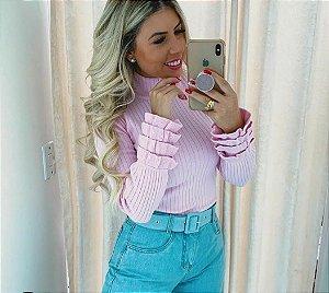 Blusa tricô basica modal decote redondo manga longa com babados