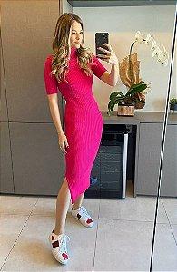 Vestido Burgaudhy tricô midi manga curta cor pink