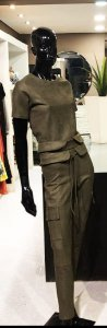 Conjunto Fabric neoprene xadrez militar calça e blusa manga curta