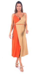 VESTIDO BANABANA TRANSPASSADO BICOLOR HAPPY HOUR