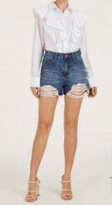 SHORTS JEANS IODICE DESTROYED BARRA DESFIADA