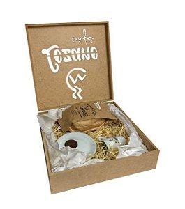 Kit Café Gourmet Torrado e Moído 250g. + Xícara e Pires de Porcelana + Caixa Personalizada