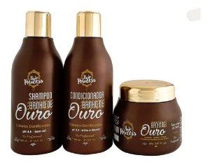 Kit Home Care Banho De Ouro Hair Princess 3 Passos