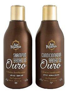 Shampoo E Condicionador Banho De Ouro Hair Princess 300ml