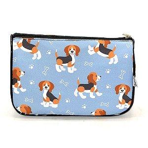 Necessaire Trapézio P Pets Beagle Cinza