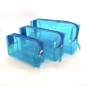Necessaire Citricus Transparente Kit com 3
