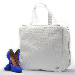 Bolsa Necessaire Sapato Viagem 6 Pares Sapateira Couro Branco