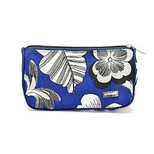 Necessaire Trapézio P Tecido Azul Floral