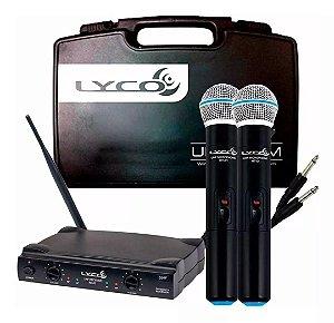Microfone Lyco Sem Fio Duplo De Mão UHF UH02MM