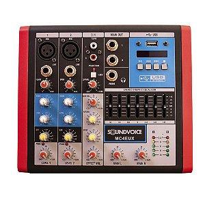 Mesa De Som Compacta 4 Canais Soundvoice Mc4 Eux