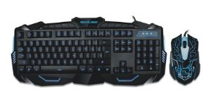 Teclado e Mouse Gamer Com Hotkeys Multimidia LED Azul Multilaser - TC195