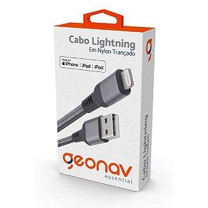 Cabo Apple Lightning conector original nylon trançado 1MT Cinza Escuro ESLISG - Geonav