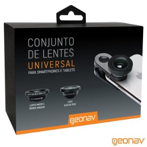 Conjunto de Lentes Universal para Smartphones e Tablets LENUNI01 Preto - Geonav