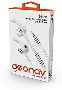 Fone de Ouvido Flex com fio Intra Auricular com microfone imãs nas cápsulas Branco - Geonav