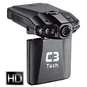 """Câmera e Filmadora Veicular HD LCD 2,4"""" 1280x720 USB CV303BK - C3Tech"""