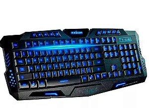 Teclado gamer BK-G35 QWERTY de cor preto com luz 3 cores - Exbom