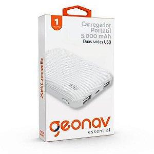 Carregador Portátil 5000mAh 2 USB Branco - ES5KWT - Geonav