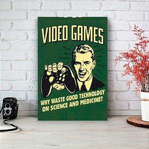 Placa Decorativa Retrô Vídeo Game