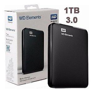 HDD EXTERNO 1TB WESTERN DIGITAL ELEMENTS PRETO PORTATIL USB