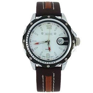 Relógio Masculino Analógico Skone 9117B Marrom e Branco-