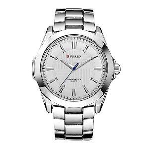 Relógio Masculino Curren Analógico 8109 - Prata e Branco