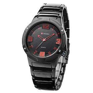 Relógio Masculino Curren Analógico 8111 - Preto e Vermelho
