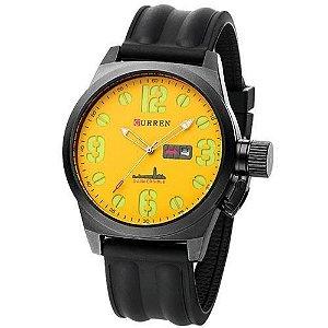 Relógio Masculino Curren Analógico 8127 Preto e Amarelo-