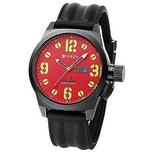 Relógio Masculino Curren Analógico 8127 Preto e Vermelho-