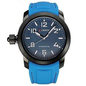 Relógio Masculino Curren Analógico 8173 - Azul e Preto