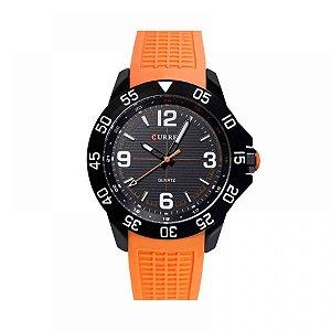 Relógio Masculino Curren Analógico 8181 - Preto e Laranja