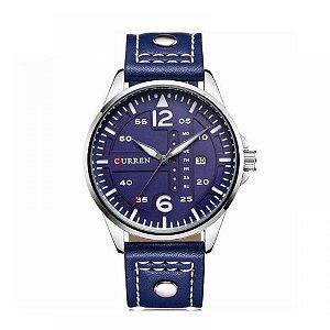 Relógio Masculino Curren Analógico 8224 - Azul e Prata