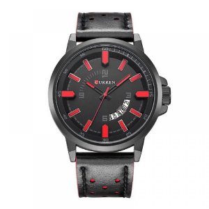 Relógio Masculino Curren Analógico 8228 - Preto e Vermelho