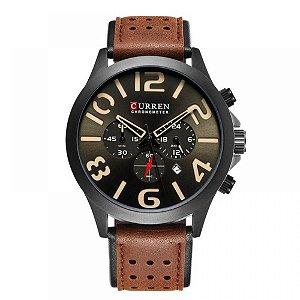 Relógio Masculino Curren Analógico 8244 - Marrom e Preto