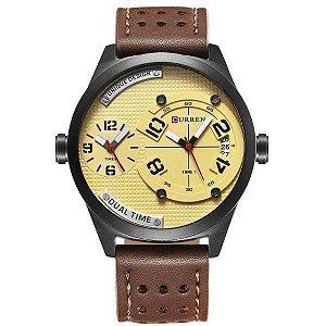 Relógio Masculino Curren Analógico 8252 - Marrom e Bege