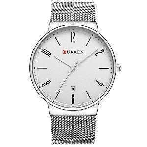 Relógio Masculino Curren Analógico 8257 - Prata e Branco