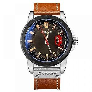 Relógio Masculino Curren Analógico 8284 - Marrom, Prata e Preto