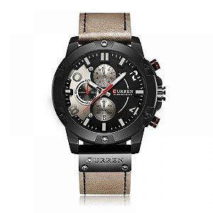 Relógio Masculino Curren Analógico 8285 - Bege e Preto