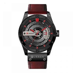 Relógio Masculino Curren Analógico 8301 - Vermelho e Preto