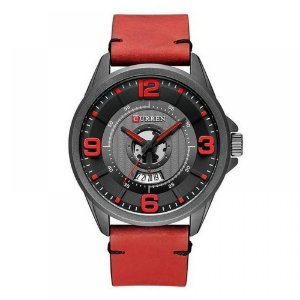 Relógio Masculino Curren Analógico 8305 - Vermelho e Preto
