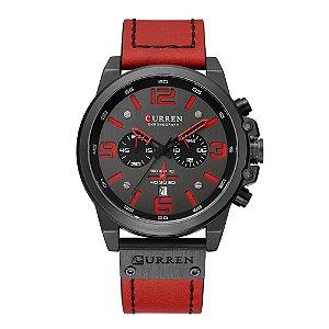 Relógio Masculino Curren Analógico 8314 - Preto e Vermelho